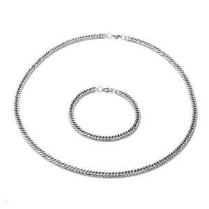 Stainless Steel Curb Bracelet (8.50 in) and Necklace (24.00 In)