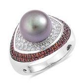 Tahitian Pearl, Mozambique Garnet, White Zircon Black Rhodium Over Sterling Silver Ring (Size 10.0) TGW 1.90 cts.