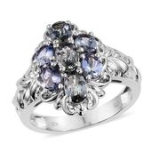 Peacock Tanzanite Platinum Over Sterling Silver Ring (Size 10.0) TGW 2.70 cts.