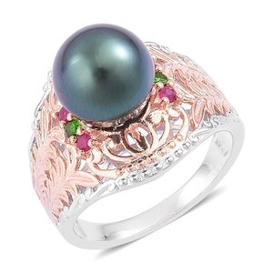 Tahitian Pearl, Burmese Ruby, Russian Diopside 14K RG Over and Sterling Silver Ring (Size 9.0) TGW 0.20 cts.