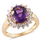 Lusaka Amethyst, Cambodian Zircon 14K YG Over Sterling Silver Ring (Size 6.0) TGW 5.43 cts.
