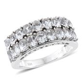 Petalite, Thai Black Spinel Platinum Over Sterling Silver Band Ring (Size 10.0) TGW 2.22 cts.