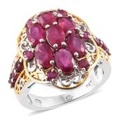 Niassa Ruby (FF) 14K YG and Platinum Over Sterling Silver Ring (Size 7.0) TGW 5.94 cts.