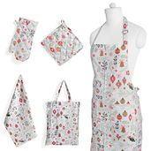 White, Multi Color Christmas Season Cotton Kitchen Set (Apron, Glove, CM Pot Holder, Towel, Bag)