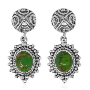 Bali Legacy Collection Mojave Green Turquoise Sterling Silver Earrings TGW 2.22 cts.
