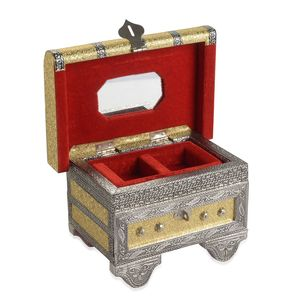 Golden with Silver Stripes Faux Leather Oxidized Pattern Jewelry Box