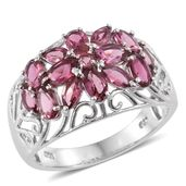 Morro Redondo Pink Tourmaline Platinum Over Sterling Silver Floral Ring (Size 7.0) TGW 2.77 cts.