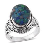 Artisan Crafted Australian Mosaic Opal Sterling Silver Ring (Size 7.0) TGW 5.26 cts.