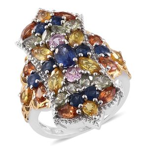 Nitin's Knockdown Deals Multi Sapphire 14K YG and Platinum Over Sterling Silver Cluster Elongated Ring (Size 6.0) TGW 7.35 cts.