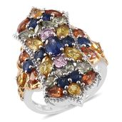 Nitin's Knockdown Deals Multi Sapphire 14K YG and Platinum Over Sterling Silver Cluster Elongated Ring (Size 7.0) TGW 7.35 cts.