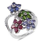 Multi Gemstone Platinum Over Sterling Silver Floral Split Ring (Size 7.0) TGW 4.79 cts.