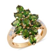 Nitin's Knockdown Deals Russian Diopside, Cambodian Zircon 14K YG Over Sterling Silver Ring (Size 6.0) TGW 6.10 cts.