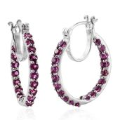 Purple Garnet Platinum Over Sterling Silver Inside Out Hoop Earrings TGW 3.47 cts.