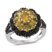 Canary Opal, Thai Black Spinel Black Rhodium & Platinum Over Sterling Silver Ring (Size 9.0) TGW 3.33 cts.