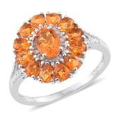 Salamanca Fire Opal Platinum Over Sterling Silver Floral Ring (Size 5.0) TGW 1.70 cts.