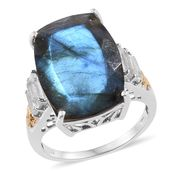 Malagasy Labradorite, White Topaz 14K YG and Platinum Over Sterling Silver Ring (Size 8.0) TGW 18.55 cts.