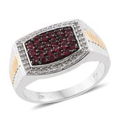 Burmese Red Spinel, Cambodian Zircon 14K YG and Platinum Over Sterling Silver Men's Ring (Size 14.0) TGW 1.34 cts.
