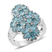 Madagascar Paraiba Apatite, Cambodian Zircon Platinum Over Sterling Silver Floral Ring (Size 8.0) TGW 4.50 cts.