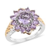 Rose De France Amethyst 14K YG and Platinum Over Sterling Silver Flower Ring (Size 7.0) TGW 3.60 cts.
