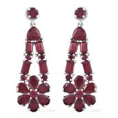 Niassa Ruby Platinum Over Sterling Silver Earrings TGW 14.19 cts.