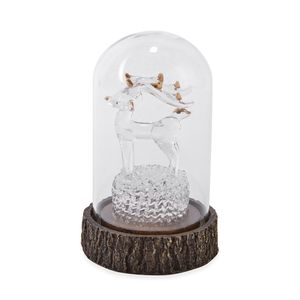 Enchanted LED Lighted Reindeer in Glass Dome on Chroma Base (2.76x2.76x4.33 in)