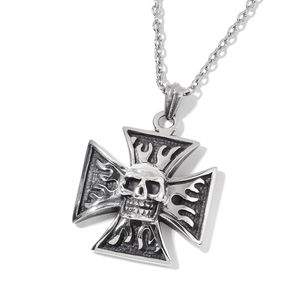 Black Oxidized Stainless Steel Cross Skull Pendant With Chain (24 in)
