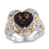 One Time Only Brazilian Smoky Quartz, Cambodian Zircon ION Plated 18K YG and Platinum Bond Brass Heart Ring (Size 8.0) TGW 5.85 cts.