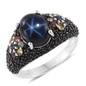Thai Blue Star Sapphire, Multi Sapphire, Thai Black Spinel Black Rhodium and Platinum Over Sterling Silver Ring (Size 9.0) TGW 8.22 cts.