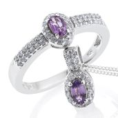 Madagascar Purple Sapphire, Cambodian Zircon Platinum Over Sterling Silver Ring (Size 6) and Pendant With Chain (20 in) TGW 1.21 cts.