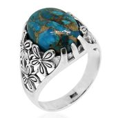 Bali Legacy Collection Mojave Blue Turquoise Sterling Silver Floral Ring (Size 6.0) TGW 9.58 cts.