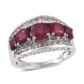 Niassa Ruby, White Topaz Platinum Over Sterling Silver Ring (Size 7.0) TGW 5.76 cts.