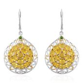 Canary Opal, Russian Diopside, Cambodian Zircon Platinum Over Sterling Silver Lever Back Earrings TGW 4.49 cts.