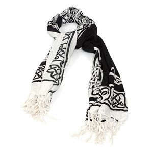 Black and White 100% Rayon Shawl