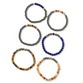 Hematite, Multi Gemstone Beads Black Oxidized Silvertone Set of 6 Bracelets (Stretchable) TGW 450.00 cts.