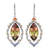 Rainbow Genesis Quartz, Jalisco Cherry Fire Opal, Tanzanite 14K YG and Platinum Over Sterling Silver Lever Back Earrings TGW 19.33 cts.