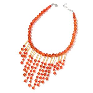 Enhanced Red Agate, Yellow Glass Silvertone Necklace (18 in) TGW 514.50 cts.