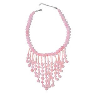 Dan's Jewelry Selections Galilea Rose Quartz, Pink Glass Silvertone Fringe Necklace (18 in) TGW 514.00 cts.