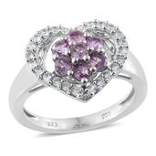 Madagascar Purple Sapphire, Cambodian Zircon Platinum Over Sterling Silver Heart Ring (Size 8.0) TGW 1.48 cts.