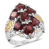 Mozambique Garnet 14K YG and Platinum Over Sterling Silver 7 Stone Ring (Size 9.0) TGW 8.53 cts.