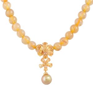 South Sea Golden Pearl (9-9.5 mm), Rutile Quartz, Brazilian Citrine 14K YG Over Sterling Silver Floral Drop Beaded Necklace (18-20in) TGW 194.02 cts.