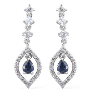 Kanchanaburi Blue Sapphire, White Topaz Platinum Over Sterling Silver Dangle Earrings TGW 1.60 cts.