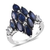Kanchanaburi Blue Sapphire, White Topaz Platinum Over Sterling Silver Elongated Ring (Size 7.0) TGW 6.86 cts.