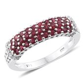 Burmese Red Spinel, Cambodian Zircon Platinum Over Sterling Silver Ring (Size 8.0) TGW 1.02 cts.