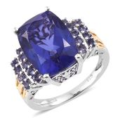 Playa Quartz, Catalina Iolite 14K YG and Platinum Over Sterling Silver Ring (Size 6.0) TGW 11.90 cts.
