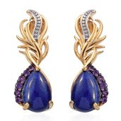 GP Lapis Lazuli, Amethyst 14K YG Over Sterling Silver Palm Tree Earrings TGW 8.33 cts.