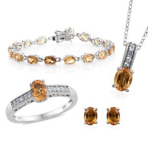 Brazilian Citrine, Cambodian Zircon Platinum Over Sterling Silver Bracelet (7.50 in), Earrings(Stud), Ring (Size 8) and Pendant With Chain (20.00 In) TGW 16.37 cts.