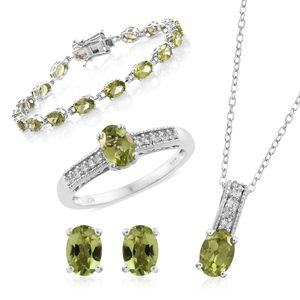 Hebei Peridot, Cambodian Zircon Platinum Over Sterling Silver Bracelet (7.50 in), Earrings, Ring (Size 7) and Pendant With Chain (20.00 In) TGW 17.51 cts.