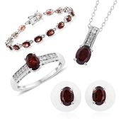 Mozambique Garnet, Cambodian Zircon Platinum Over Sterling Silver Bracelet (7.50 in), Earrings, Ring (Size 5) and Pendant With Chain (20.00 In) TGW 20.91 cts.