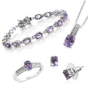 One Day TLV Rose De France Amethyst, Cambodian Zircon Platinum Over Sterling Silver Bracelet (7.50 in), Earrings, Ring (Size 5) and Pendant With Chain (20.00 In) TGW 15.69 cts.