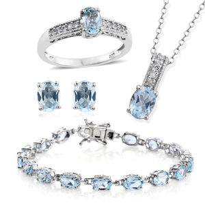 One Day TLV Sky Blue Topaz, Cambodian Zircon Platinum Over Sterling Silver Bracelet (7.50 in), Earrings, Ring (Size 8) and Pendant With Chain (20.00 In) TGW 21.80 cts.